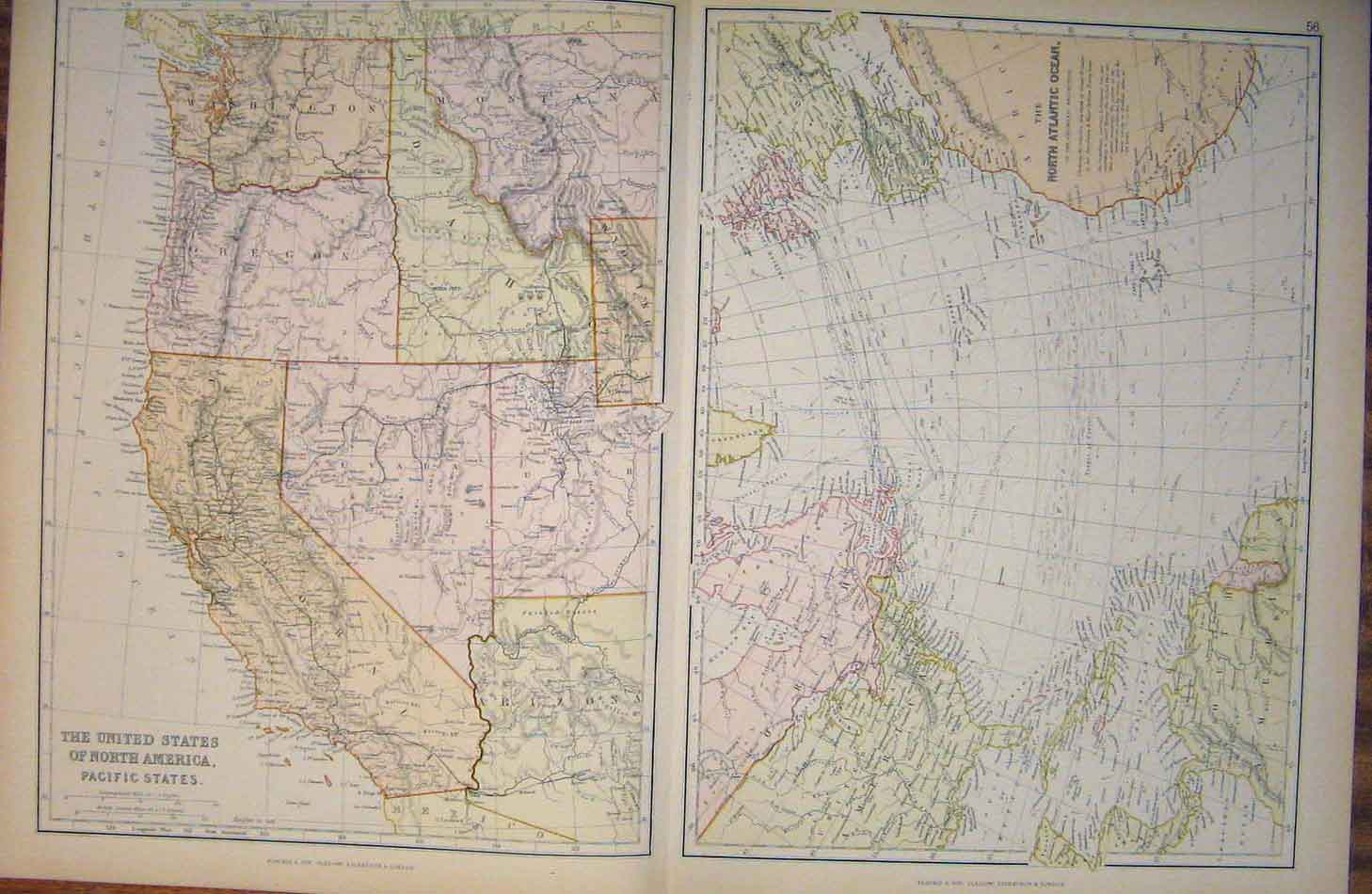 Print United States North America Pacific States Map 566501 Old Original