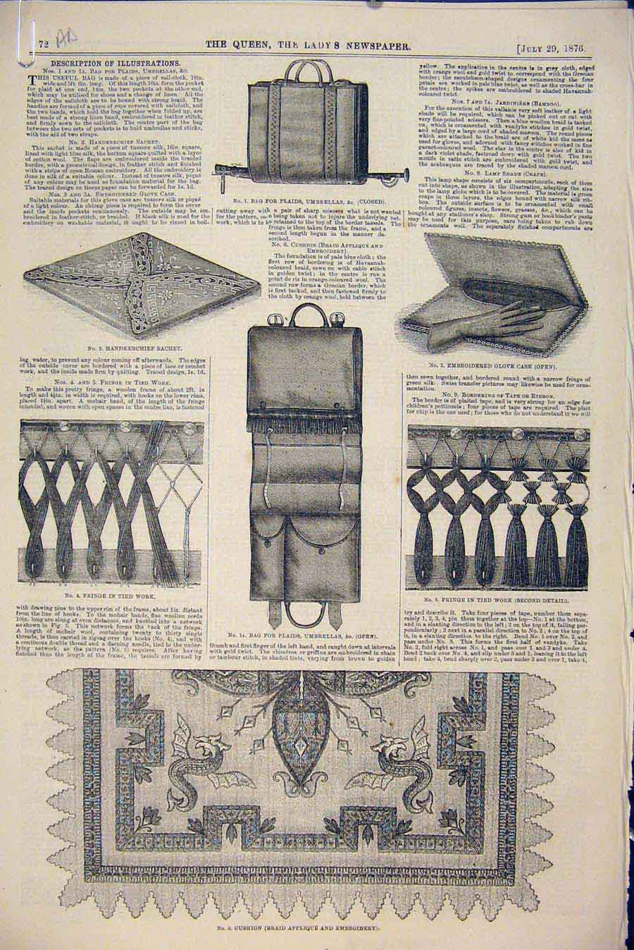 Print Embroidery Millinery Leather Silk Jardiniere Bag Fringe 72A6531 Old Original