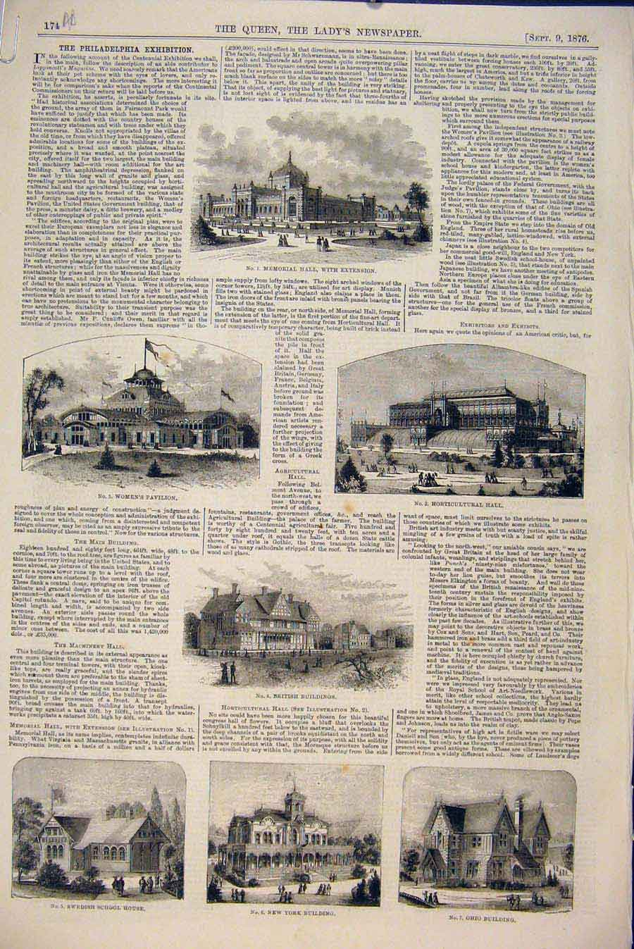Print Philidelphia Exhibition Ornament Furniture Buildings 74A6531 Old Original
