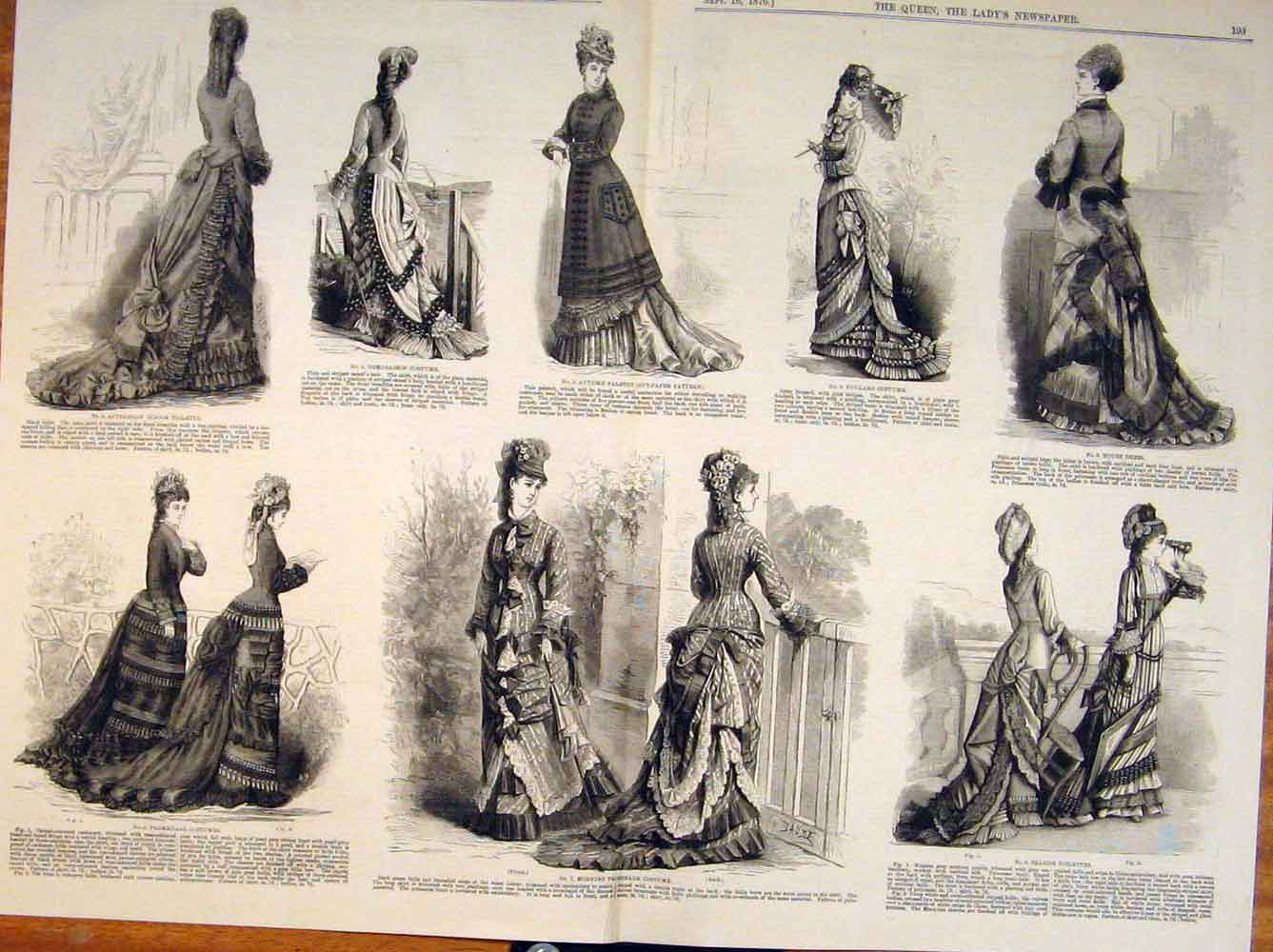 Print Ladies Fashion Dress Costume Dresses Promenade 1876 93T6531 Old Original