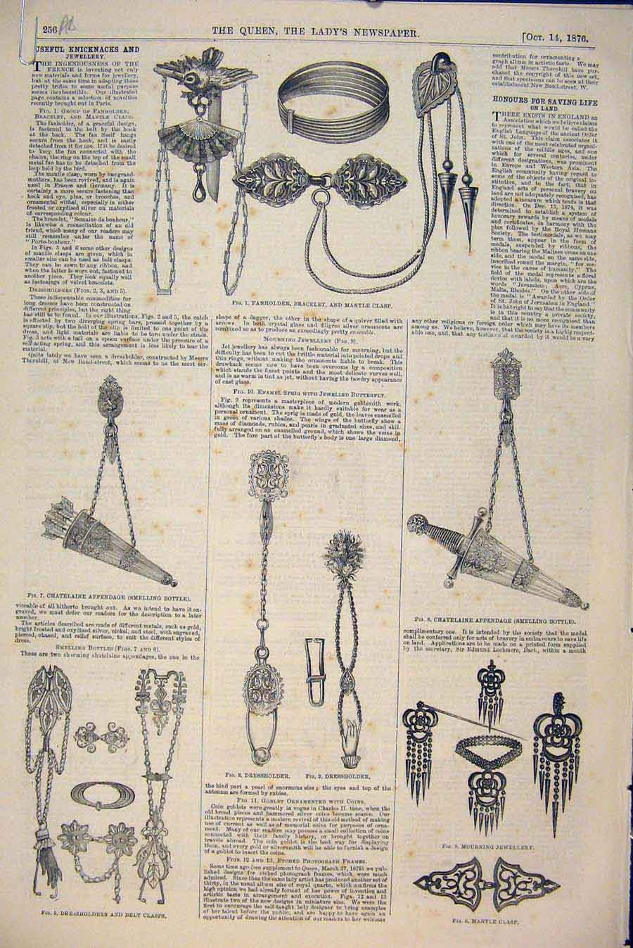 Print Jewellery Knicknacks Butterfly Goblet Medal 1876 56A6531 Old Original
