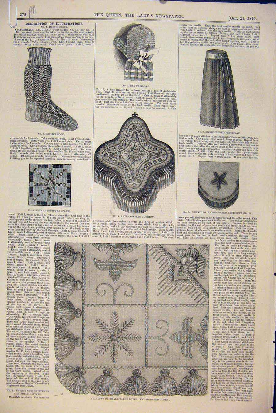 Print Dress Fashion Embroidery Millinery Cushion Glove 1876 72A6531 Old Original