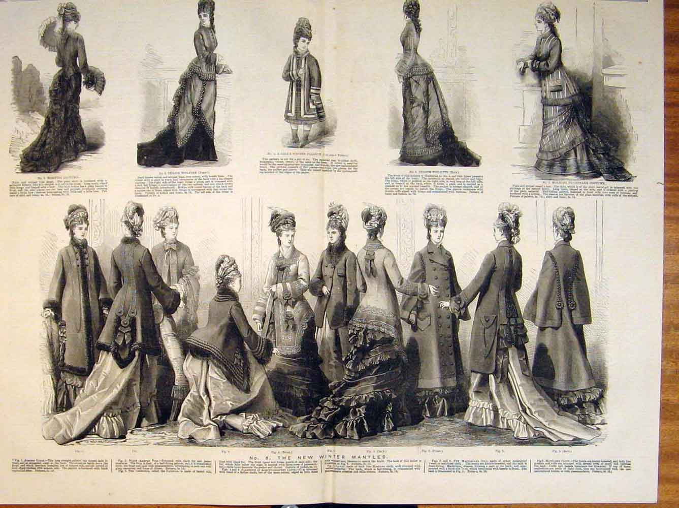Print Ladies Fashion Dress Costume Winter Mantles Armure 1876 75T6531 Old Original
