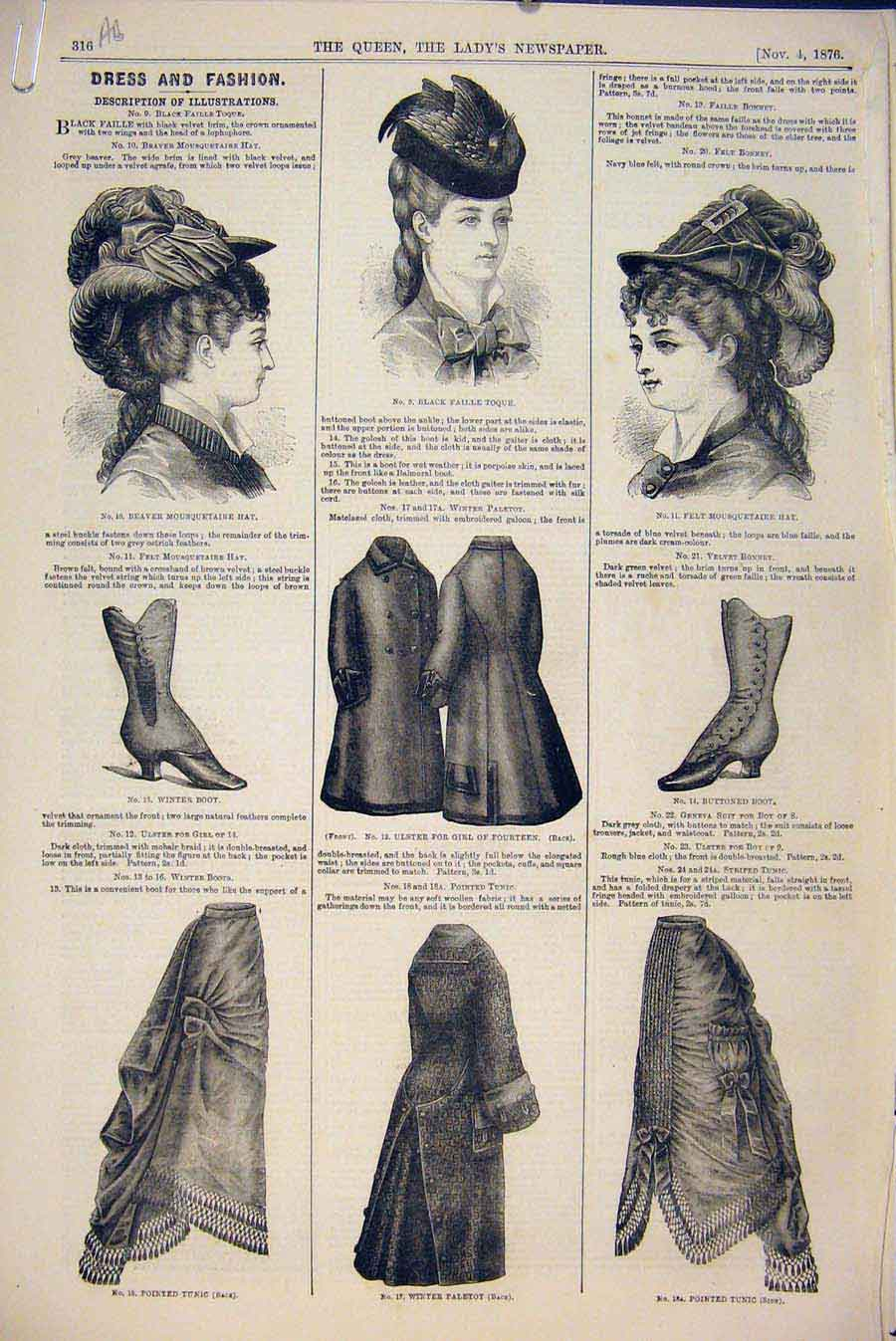 Print Dress Fashion Girls Tunis Boot Bonnet Suit Ulster 1876 16A6531 Old Original