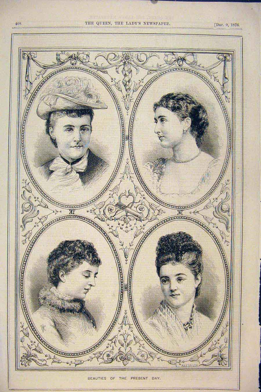 Print Portrait Women Beautiful Century Beauties 1876 086531 Old Original