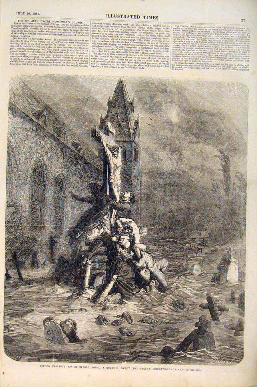 Print French Peasants Crucifix Inundations Floods France Dore 376551 Old Original