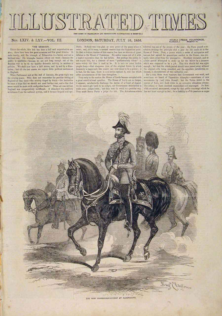 Print Aldershott Commander-In-Chief Duke Cambridge 1856 506551 Old Original