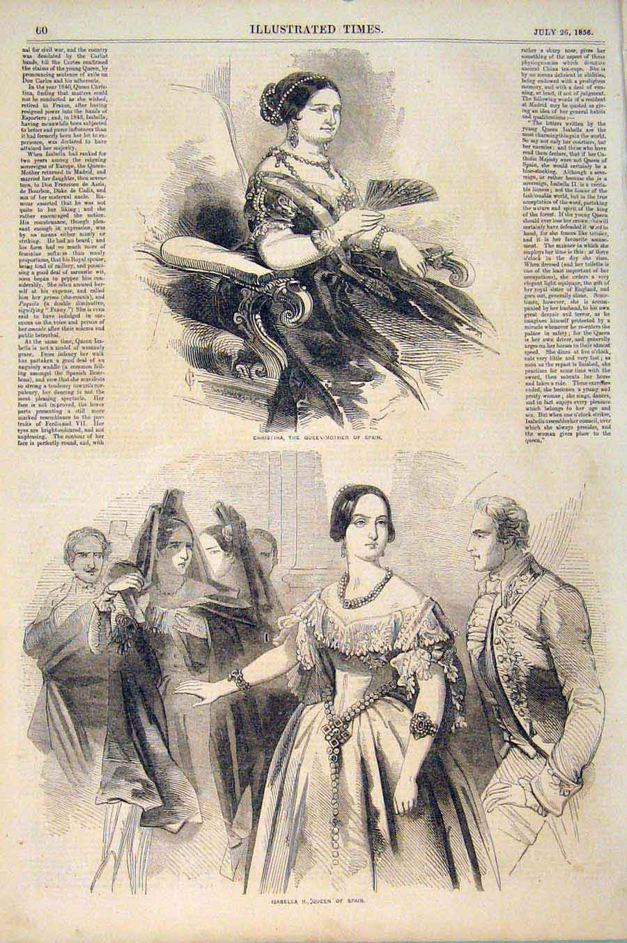 Print Christina Queen-Mother Spain Isabella Queen 1856 606551 Old Original