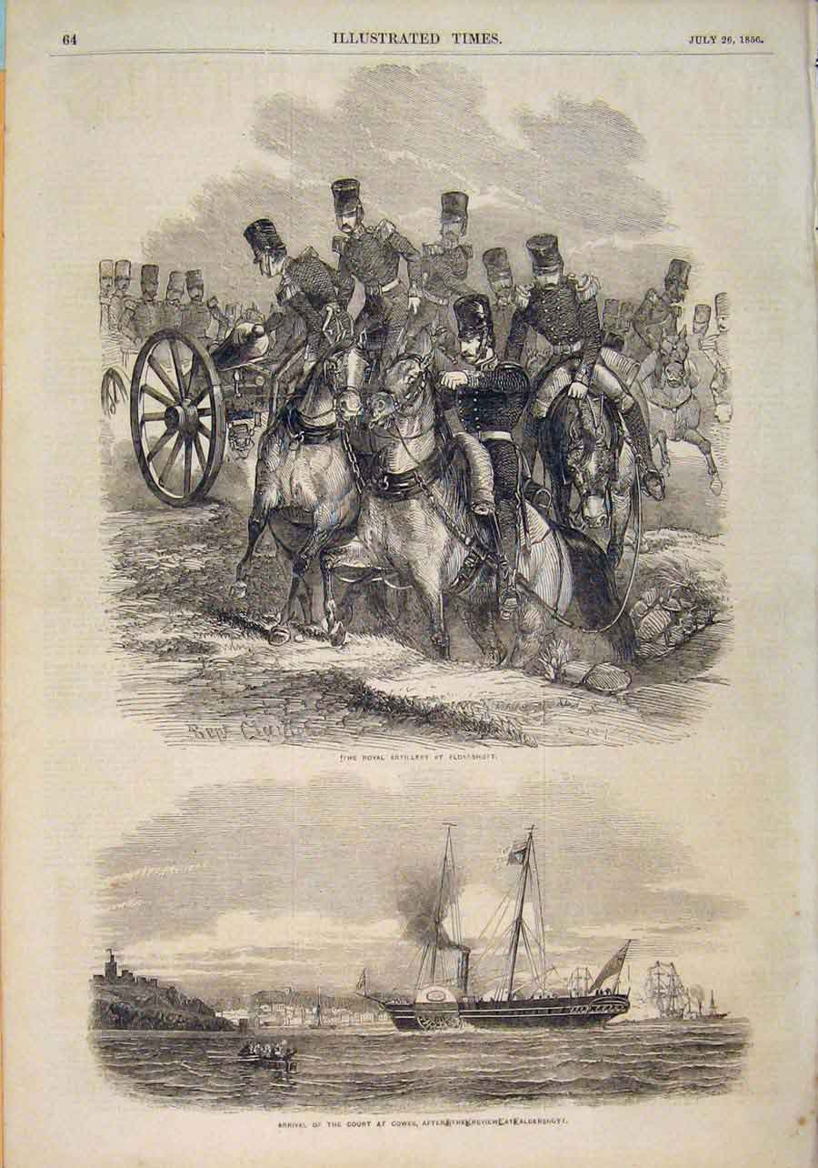 Print Royal Artillery Aldershott Cowes Court Ship Review 1856 646551 Old Original