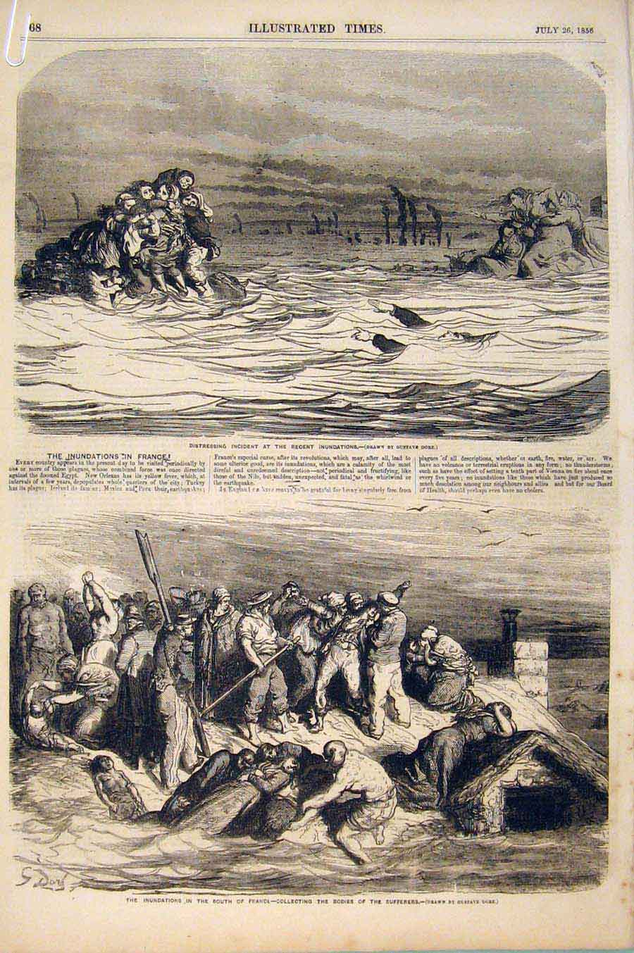 Print Floods France Tarascon Lyons Lafayette Inundations 1856 68A6551 Old Original