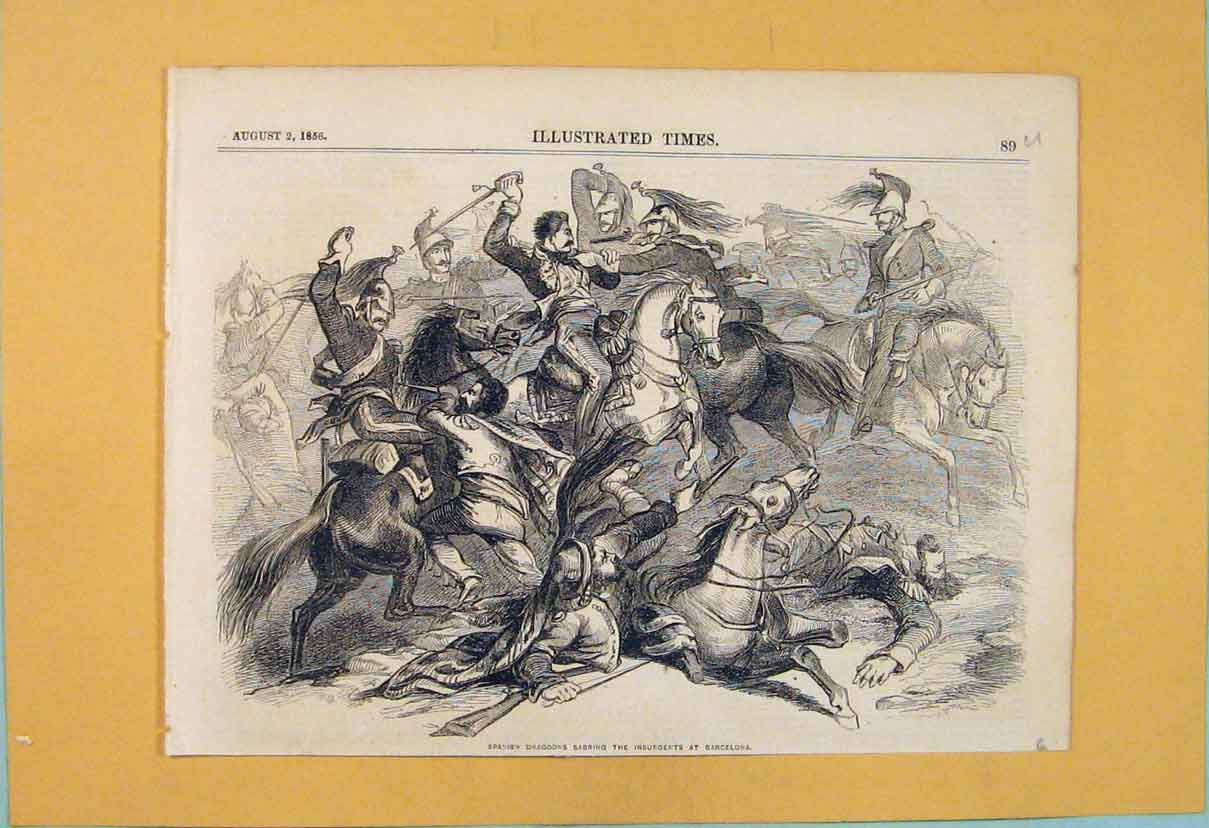 Print Spanish Dragoons Insurgents Barcelona War 1856 89U6551 Old Original