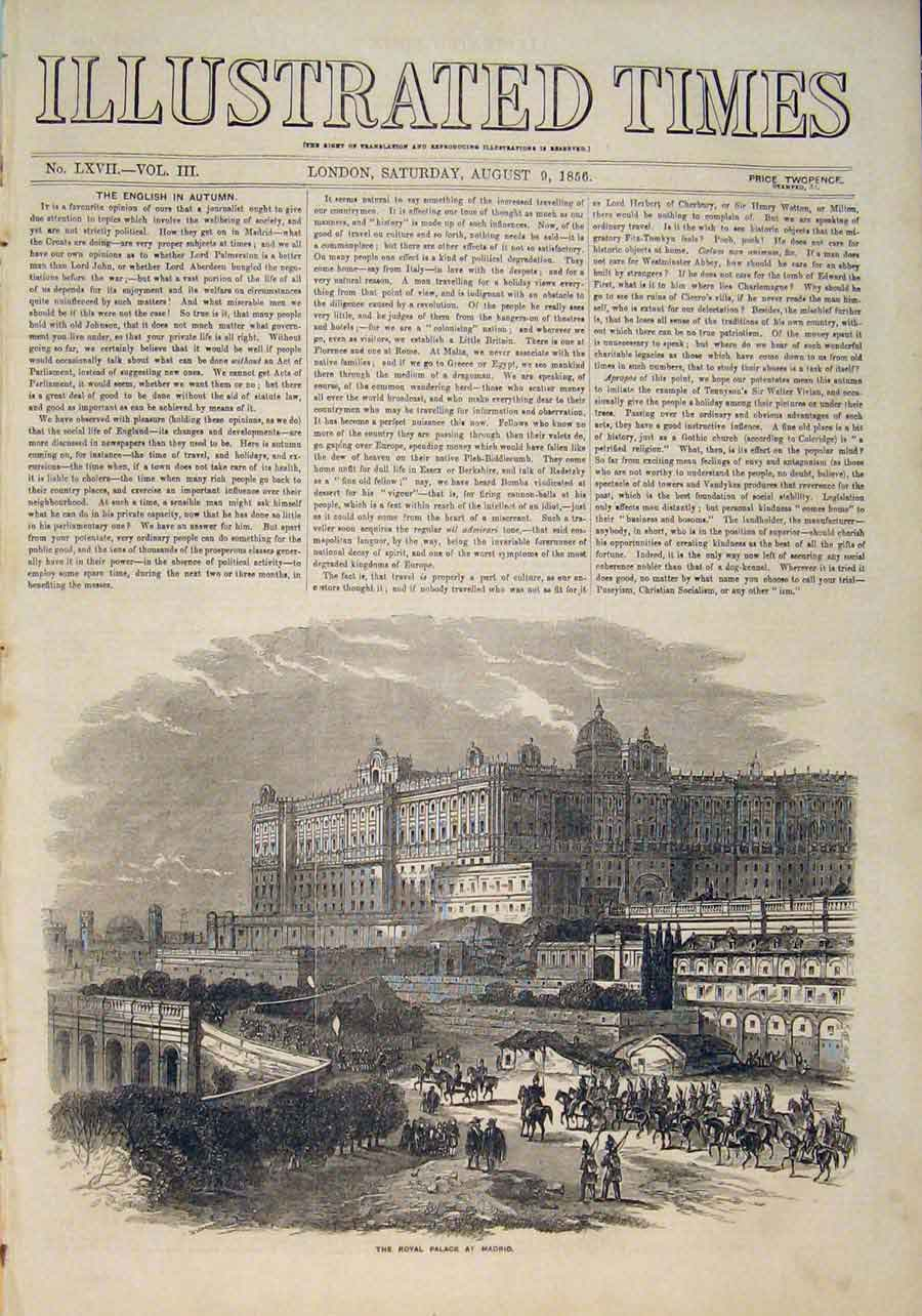 Print Madrid Royal Palace Spain Spanish 1856 986551 Old Original