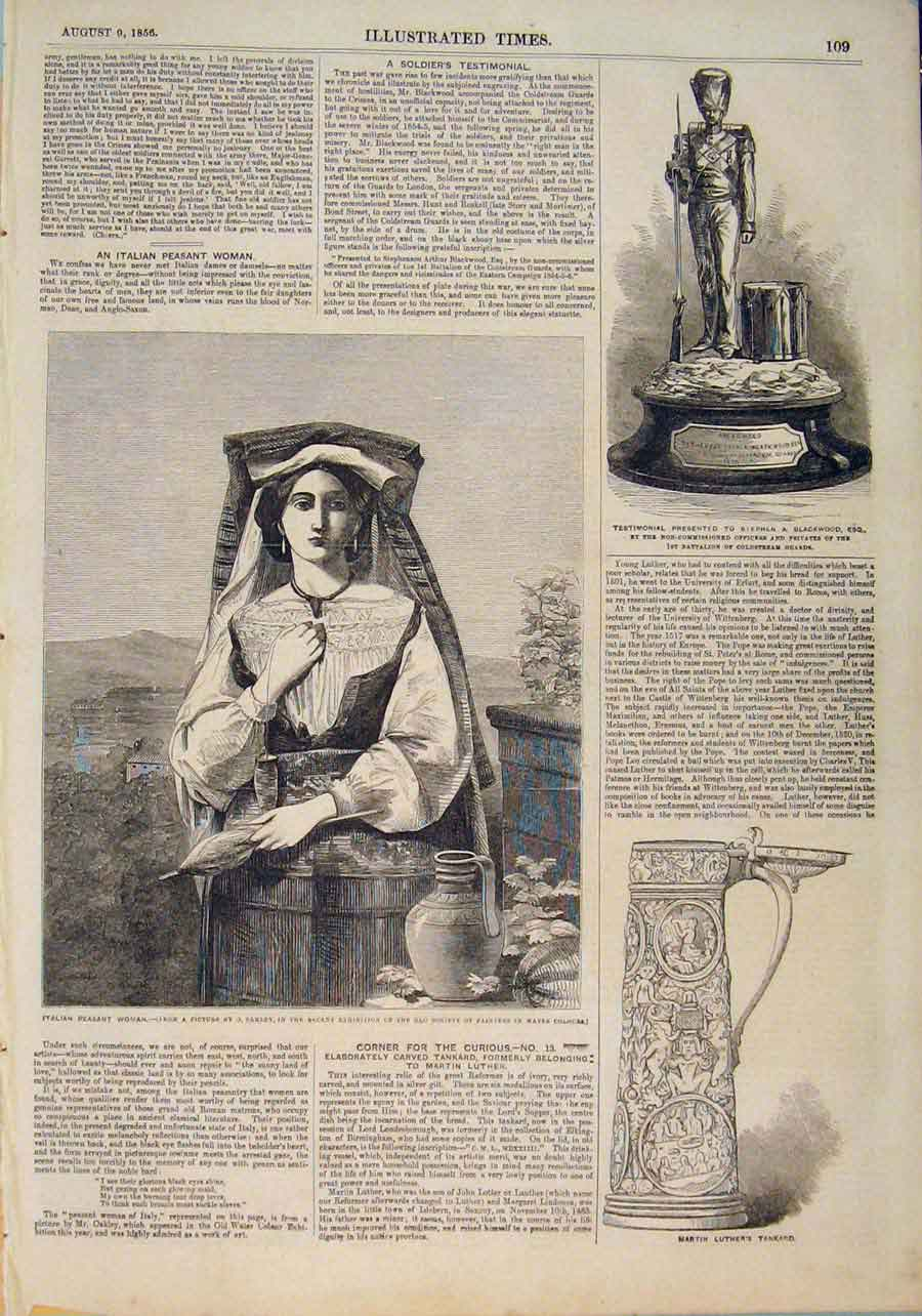 Print Italian Peasant Dakley Blackwood Martin Luther Tankard 096551 Old Original