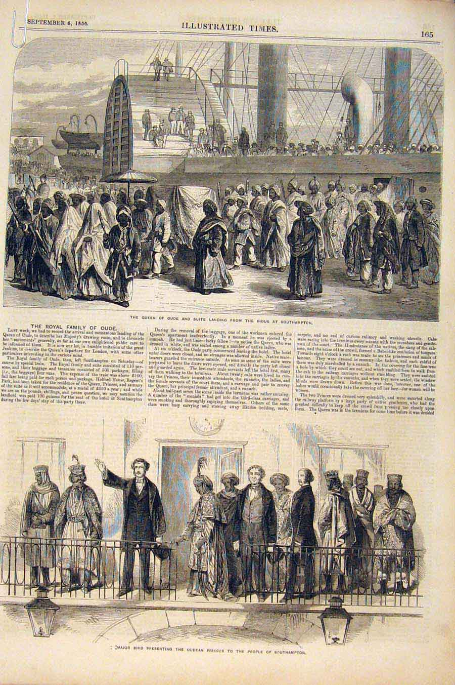 Print Southampton Oude Suite York Hotel Queen Major Bird 1856 65A6551 Old Original