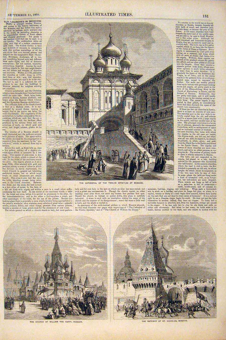 Print Cathedral Moscow Church Coronation Czar Russia 1856 81A6551 Old Original