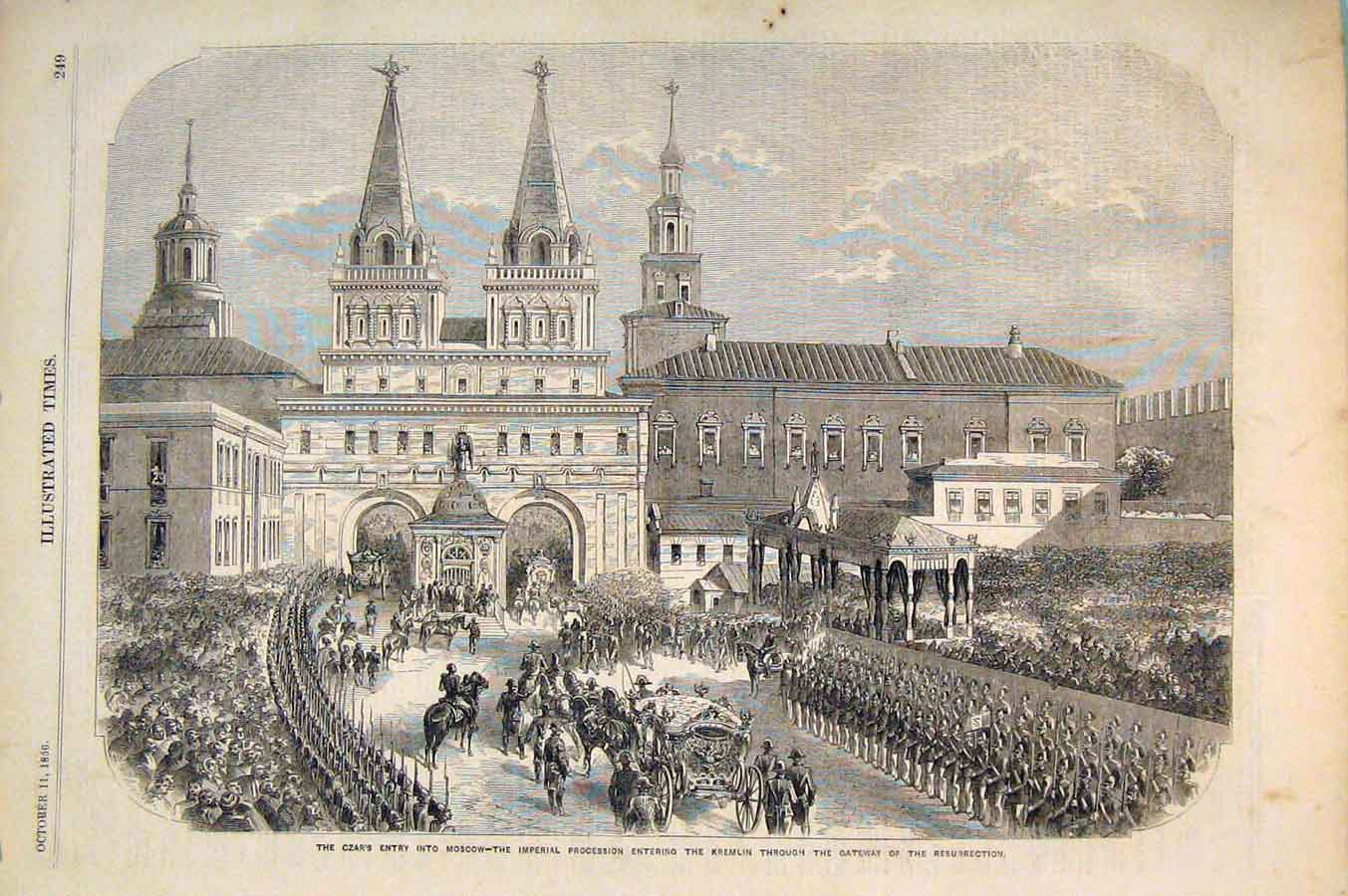 Print Czar Moscow Imperial Procession Kremlin Russia 1856 496551 Old Original
