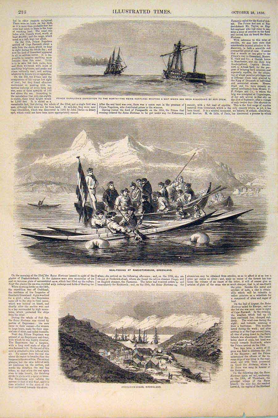 Print Napoleon Expedition Reine Hortense Seal Greenland 1856 766551 Old Original