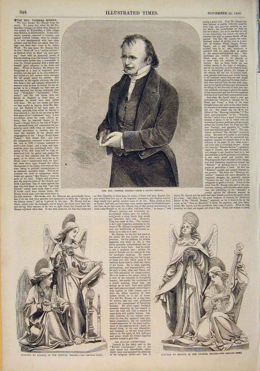 Print Portrait Binney Statue Geerts Crystal Palace 1856 486551 Old Original
