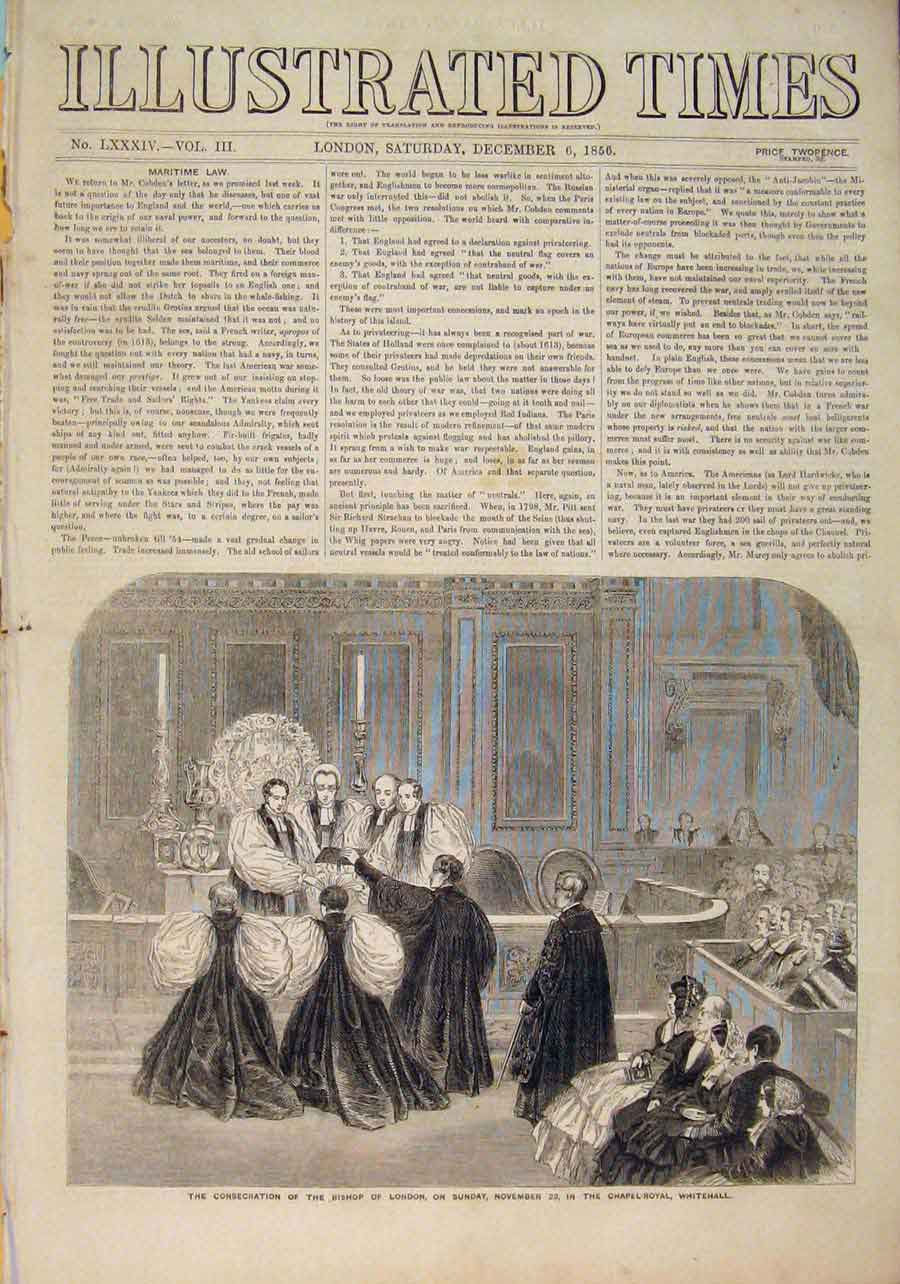 Print Bishop London Chapel Royal Whitehall Consecration 1856 706551 Old Original
