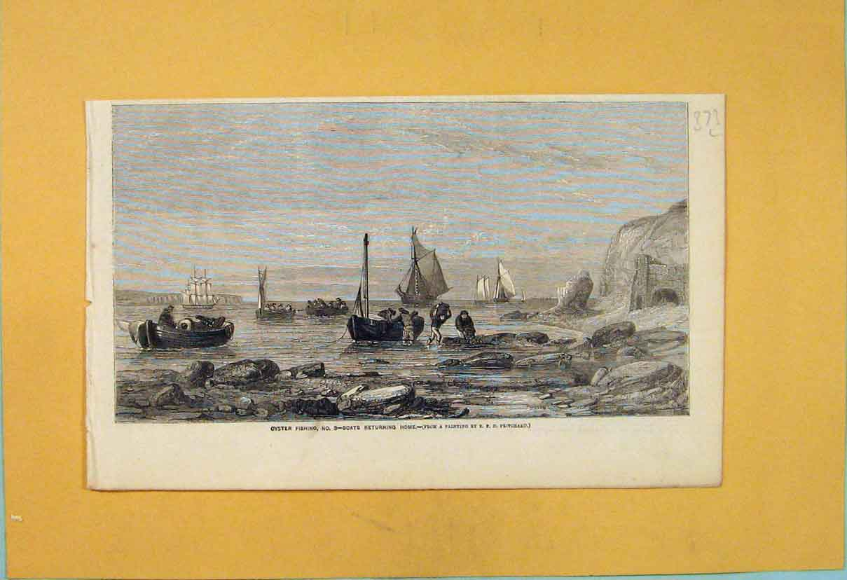 Print Oyster Fishing Boats Boat Pritchard 1856 73L6551 Old Original