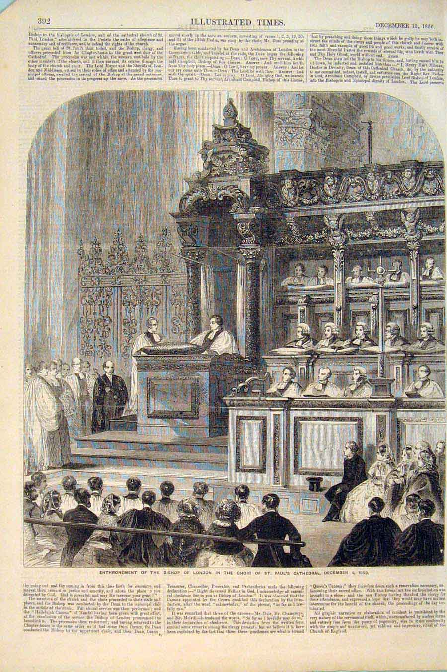 Print Bishop London Choir St Paul'S Cathedral 1856 926551 Old Original