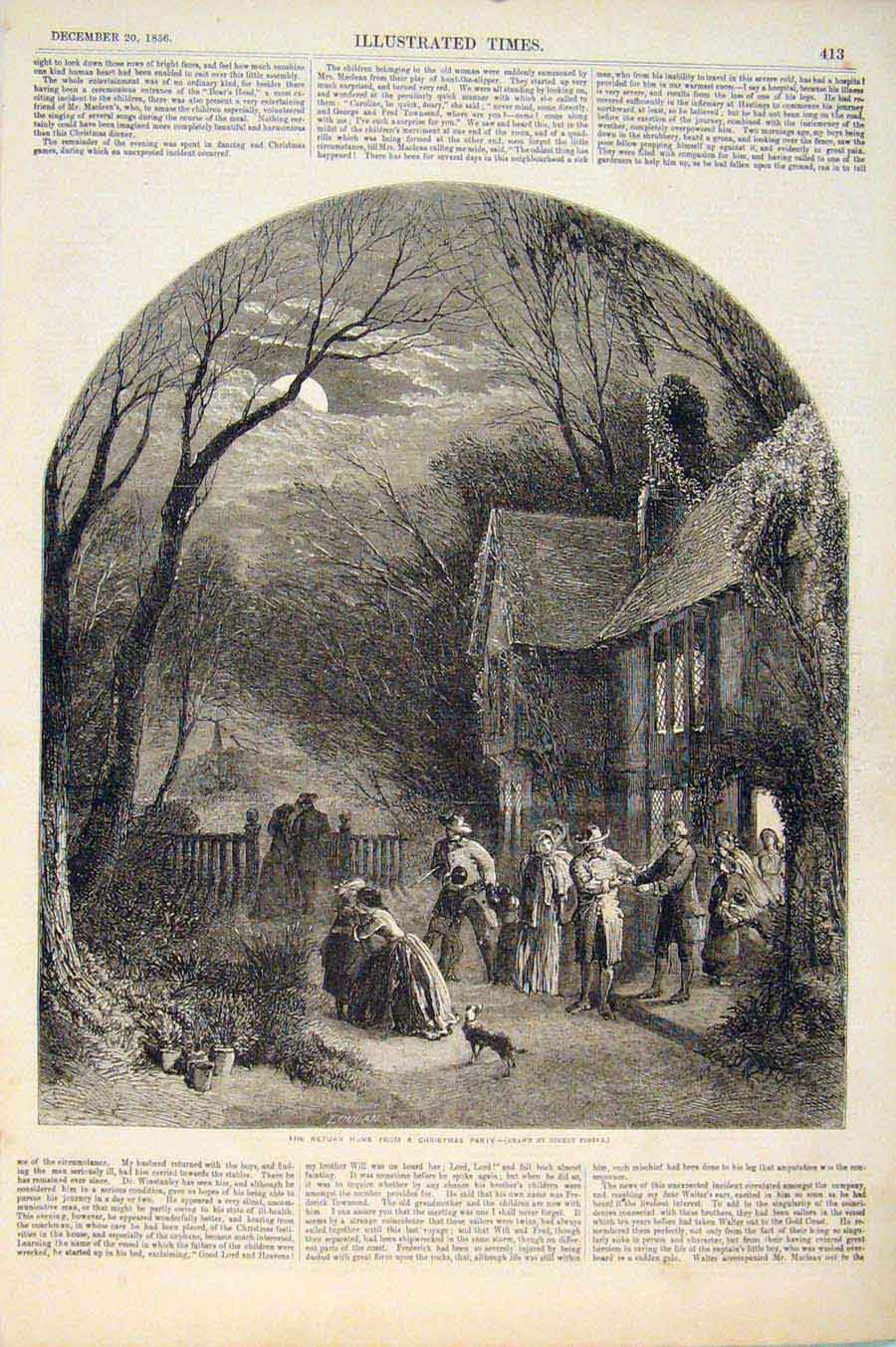 Print Christmas Party Return Foster Drawing 1856 136551 Old Original