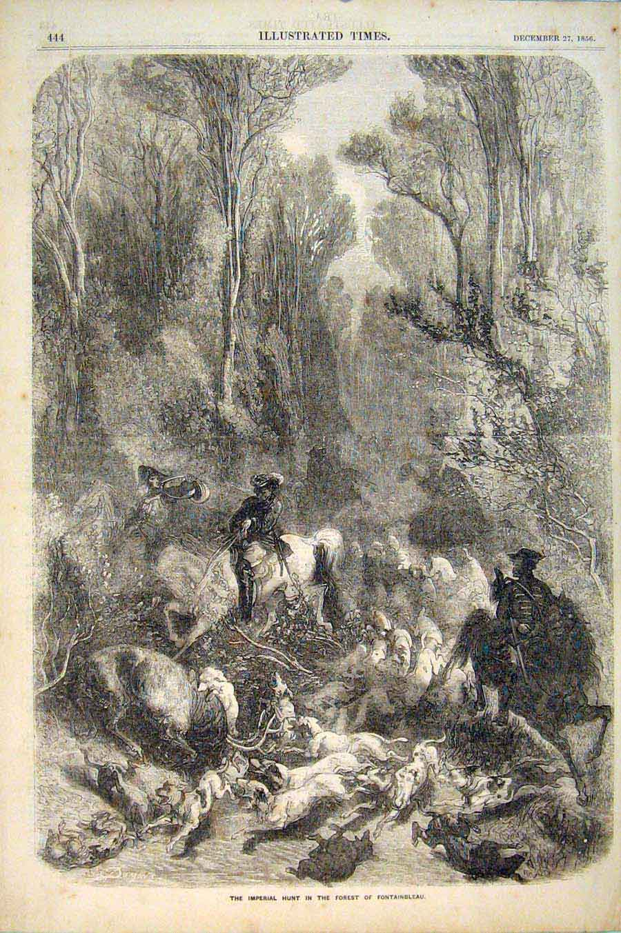 Print Imperial Hunt Fontainbleau Hunting Forest Stag 446551 Old Original