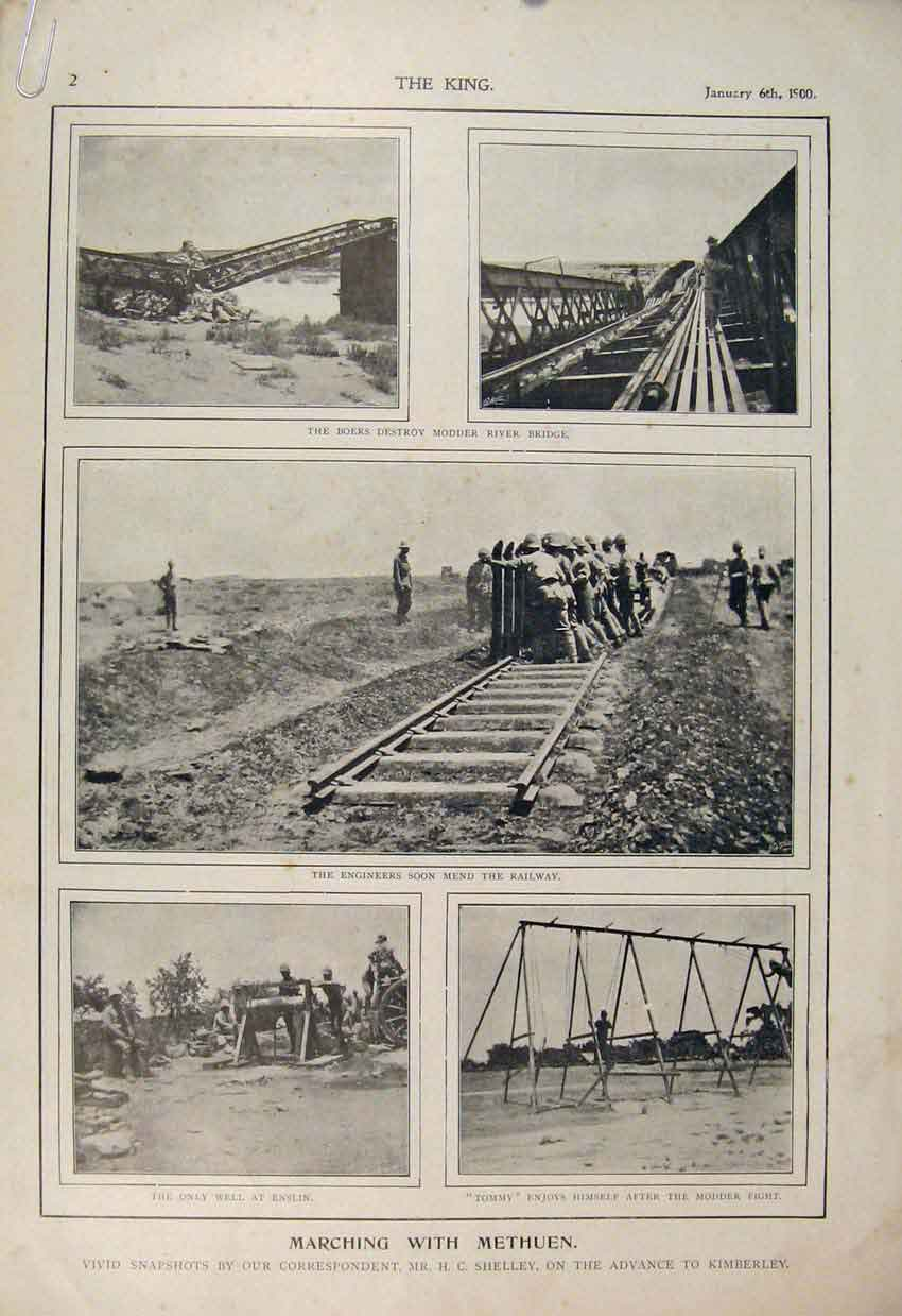Print Boer War Africa 1900 Modder River Methuen Shelley Train 02A6560 Old Original