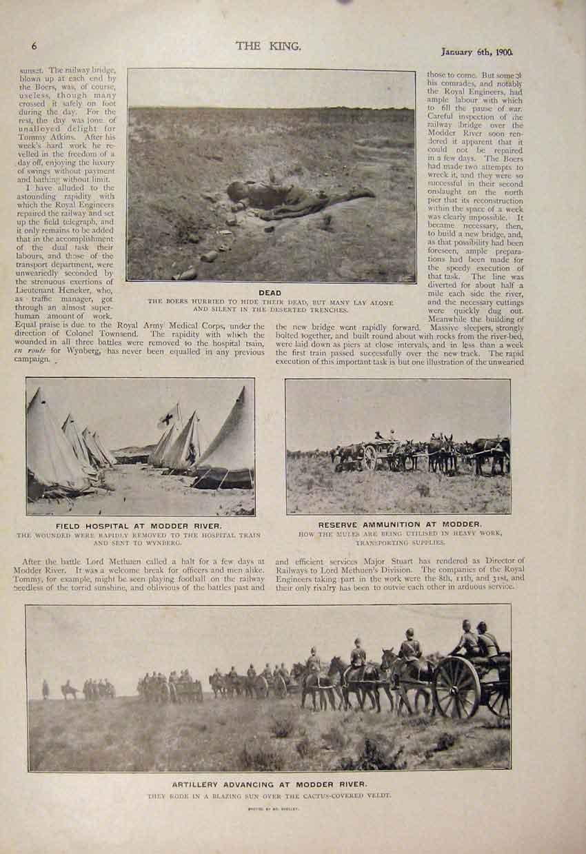 [Print Boer War Africa 1900 Modder River Mules Field Hospital 066560 Old Original]