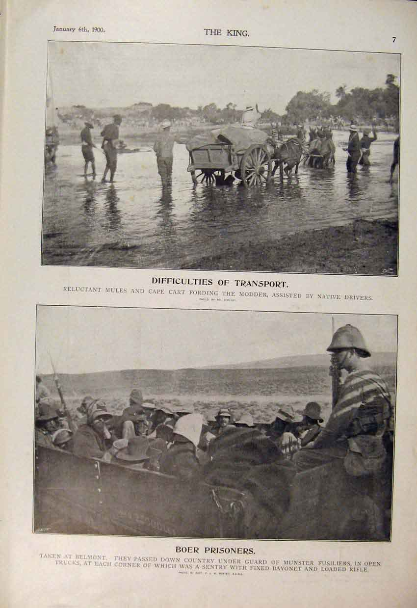 Print Boer War Africa 1900 Modder River Prisoners Belmont 086560 Old Original