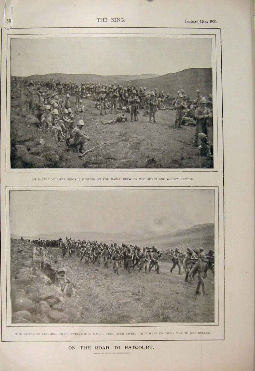 Print Estcourt Boer War Africa 1900 British Prisoner Pretoria 38A6560 Old Original