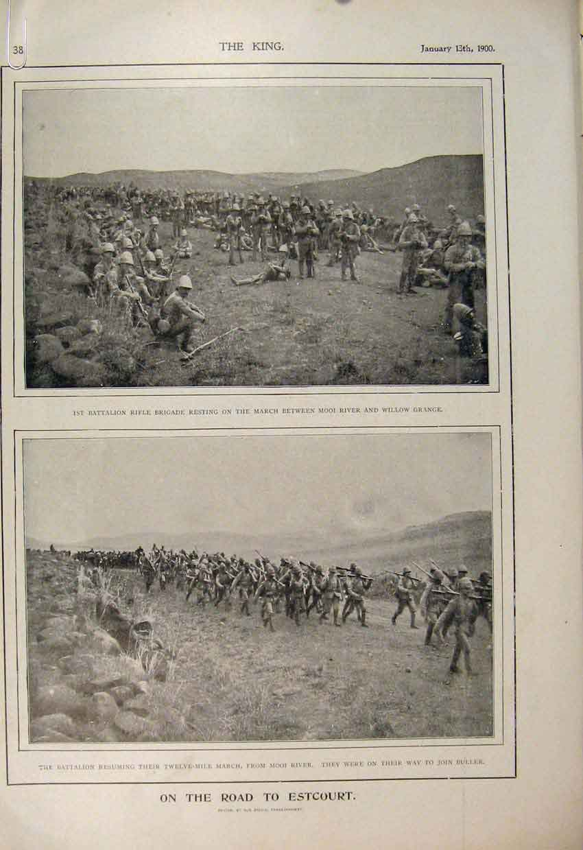 Print Boer War Africa 1900 Methuen Tent Orange River Modder 42A6560 Old Original