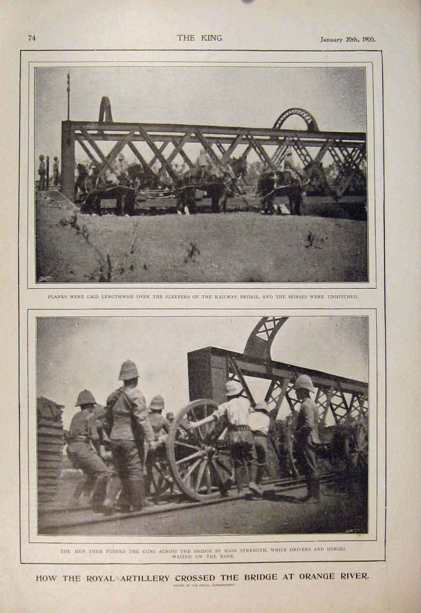 Print Royal Artillery Bridge Orange Boer War Africa 1900 746560 Old Original