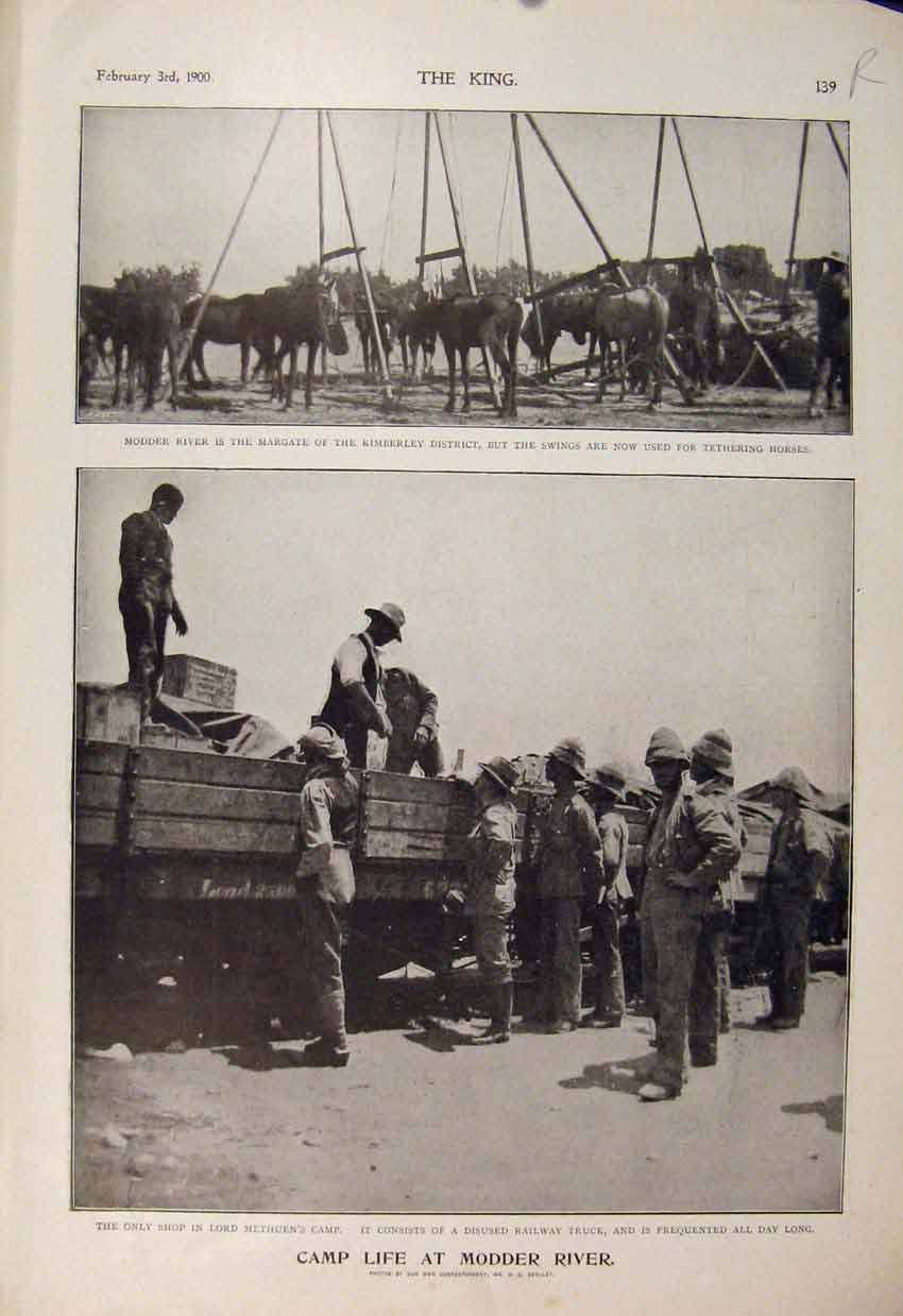 Print Boer War Africa 1900 Modder River Camp Metheun Food 39R6560 Old Original