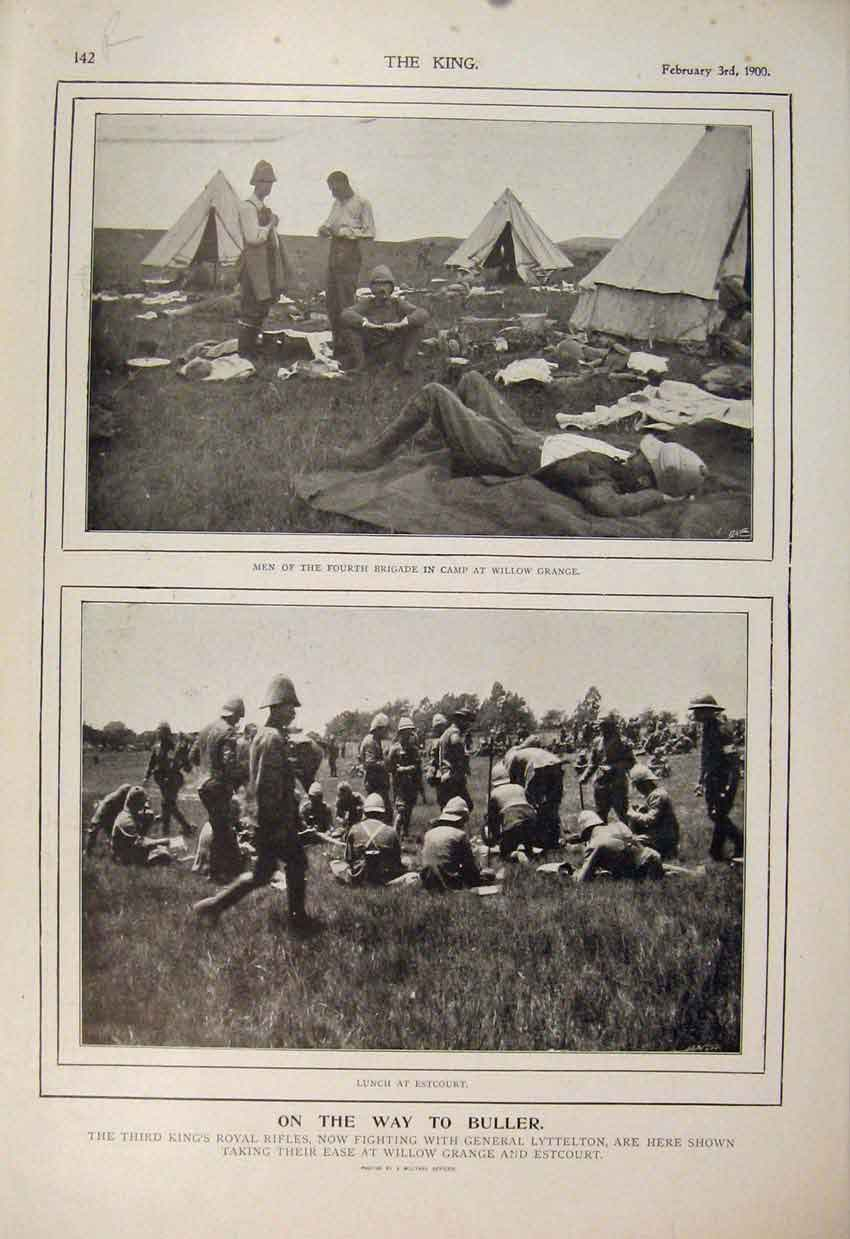 Print Boer War Africa 1900 Buller Royal Rifles Lyttelton 42R6560 Old Original