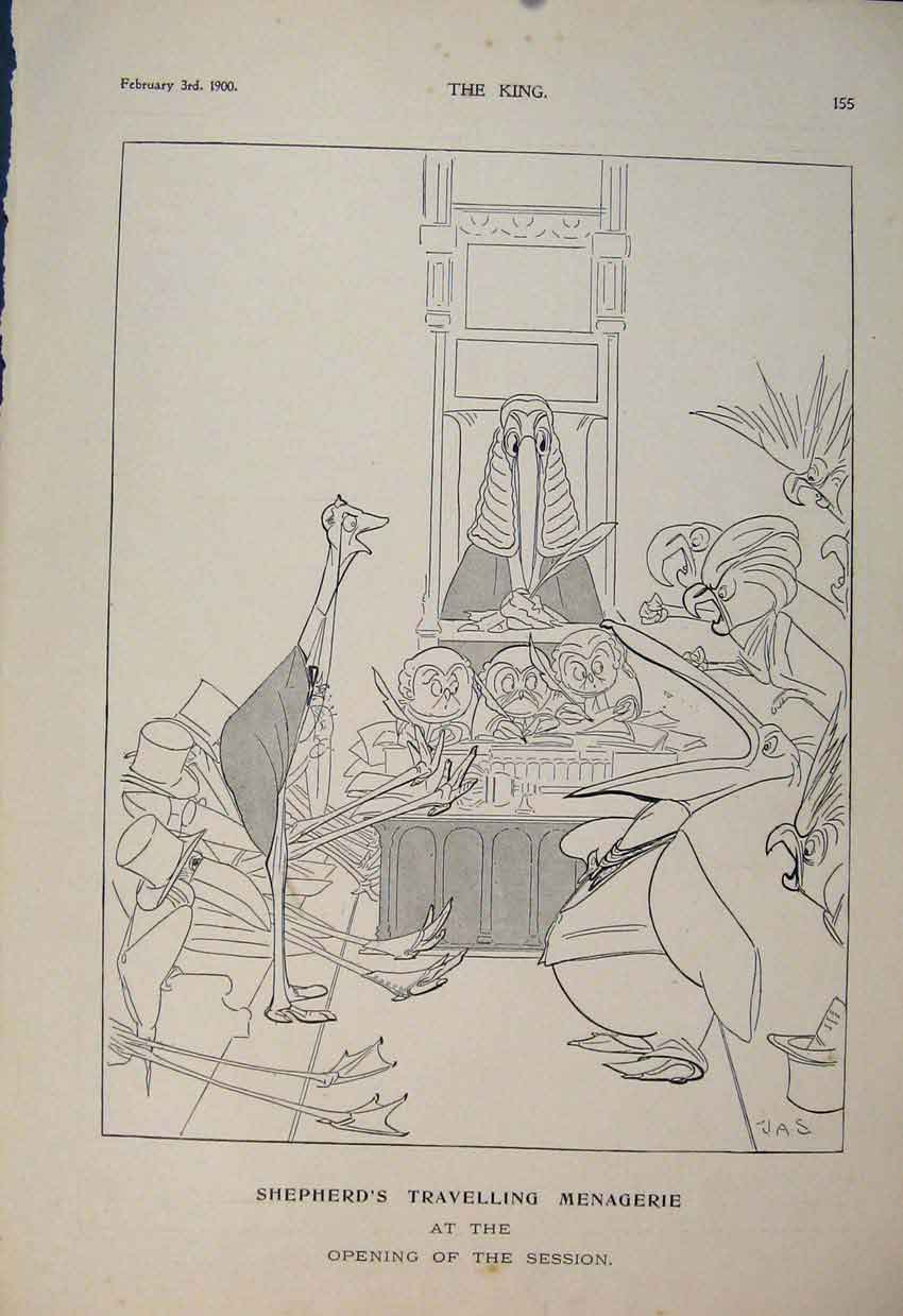Print Shpherd'S Travelling Menagerie Shepherd 1900 556560 Old Original