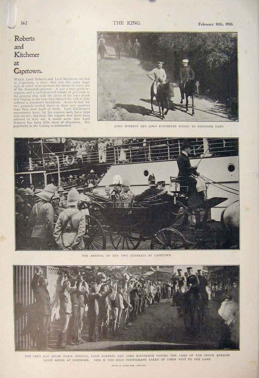 Print Boer War Africa 1900 Roberts Kitchener Cape Town 62A6560 Old Original