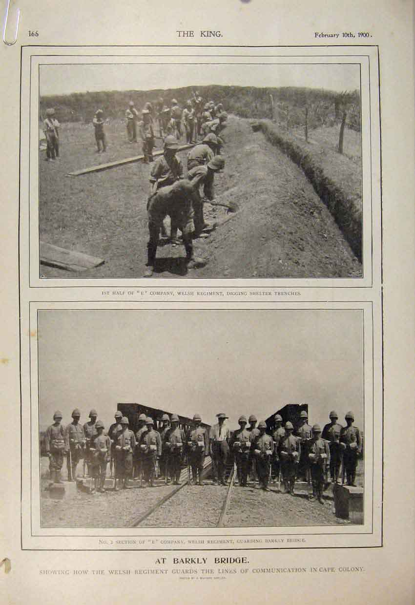 Print Boer War Africa 1900 Barkly Bridge Chieveley Buller 66A6560 Old Original