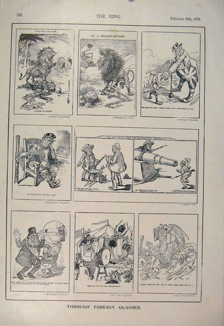 [Print Foreign Sketches Sketch American Newspapers 1900 886560 Old Original]