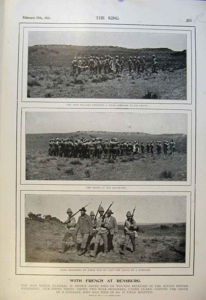 Print Boer War Africa 1900 Rensburg French Ladysmith Hussars 03R6560 Old Original