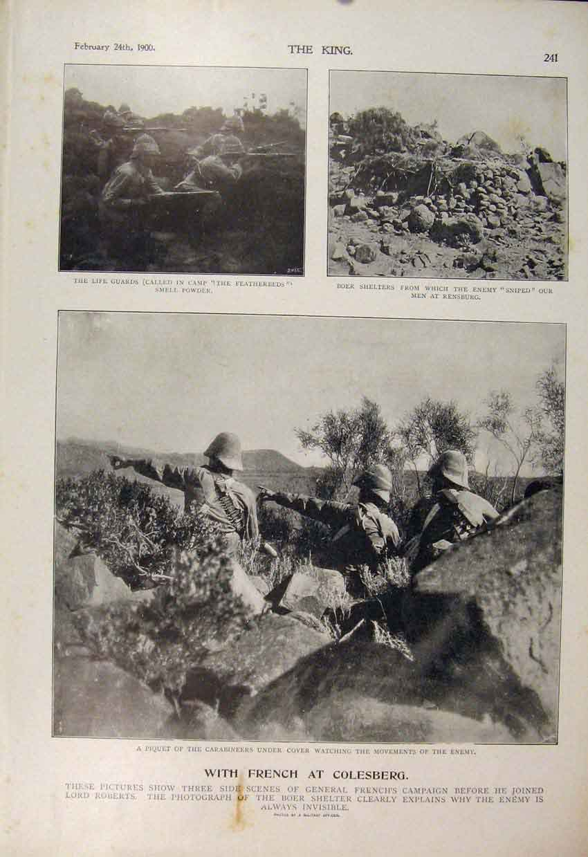 Print Boer War Africa 1900 Colesburg French Life Guards 416560 Old Original