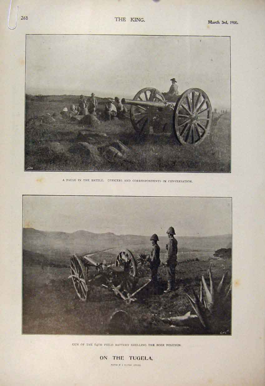 Print Boer War Africa 1900 Tugela Guns Ferry Troops Guns 68A6560 Old Original