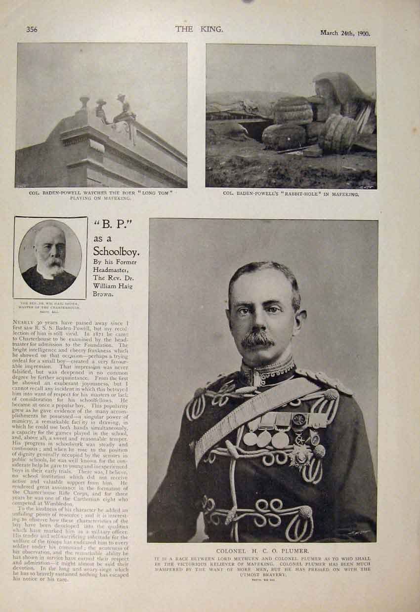 Print Boer War Africa 1900 Brown Plumer Mafeking 566560 Old Original