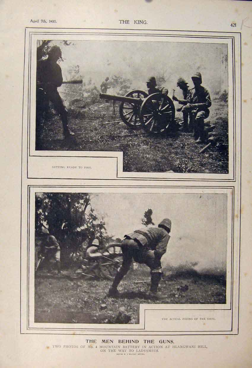 Print Boer War Africa 1900 Hlangwani Hill Battle Battery 21R6560 Old Original