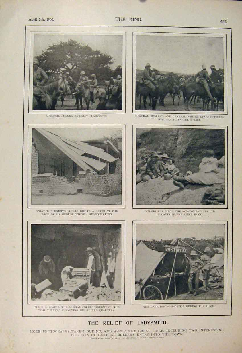 Print Ladysmith Buller White Pearse Boer War Africa 1900 336560 Old Original