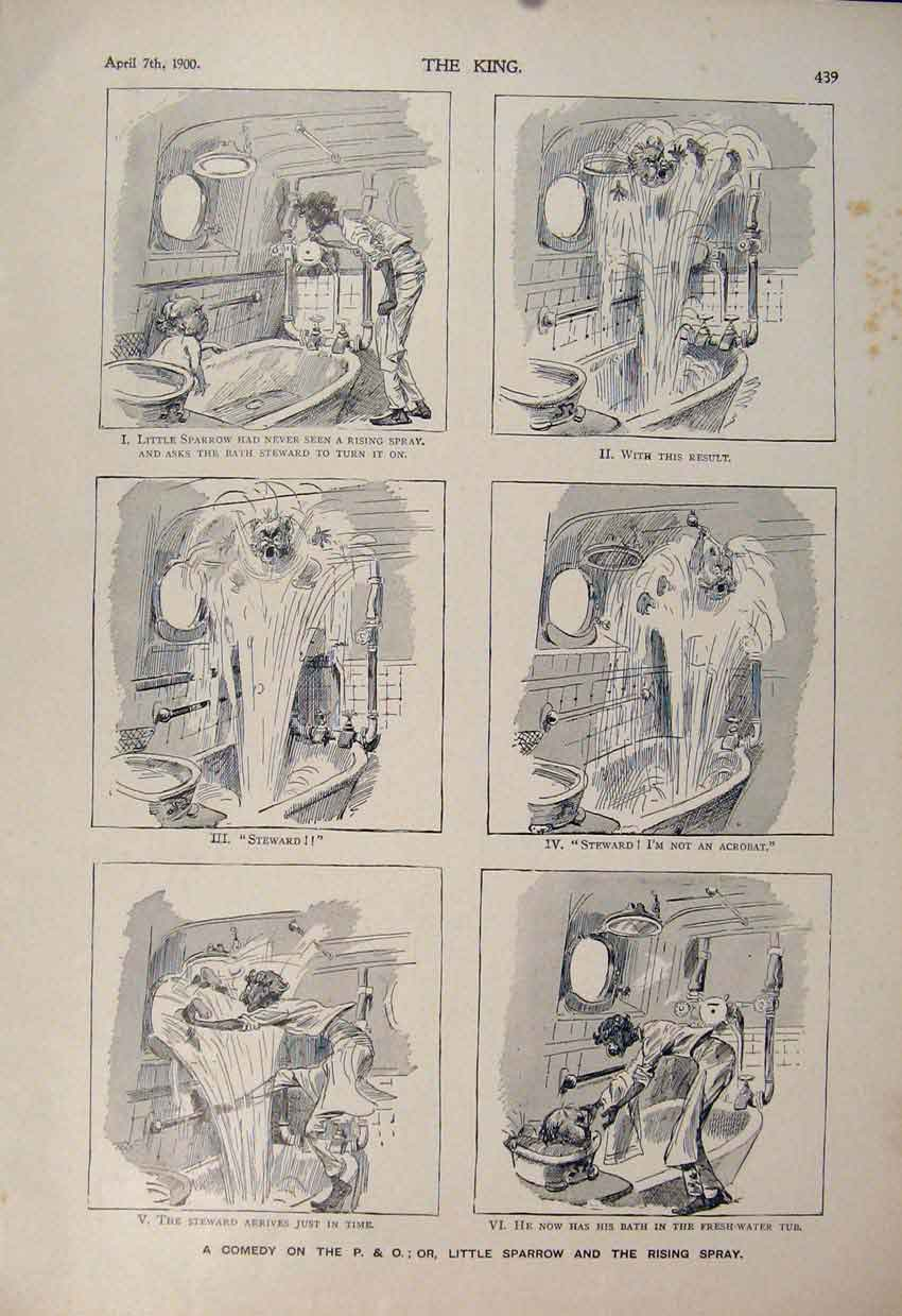 [Print Comedy P & O Sparrow Bath Steward Cartoon Sketch 1900 396560 Old Original]
