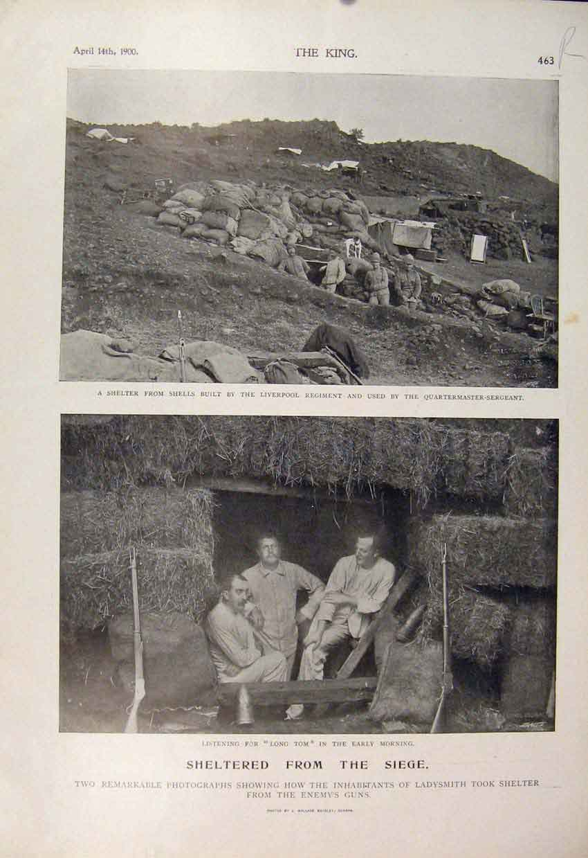 [Print Boer War Africa 1900 Seige Ladysmith Hlangwani Battery 63R6560 Old Original]