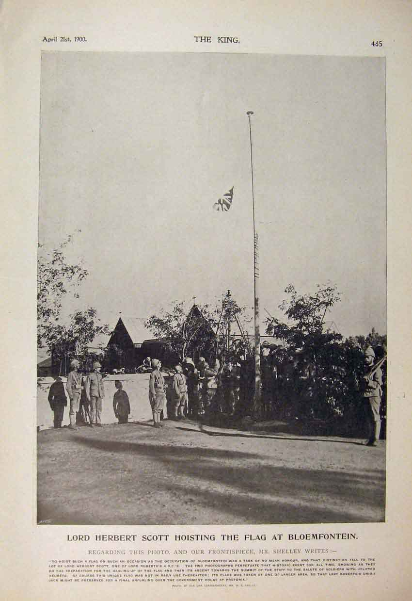 Print Scott Flag Bloemfontein Boer War Africa 1900 Shelley 856560 Old Original