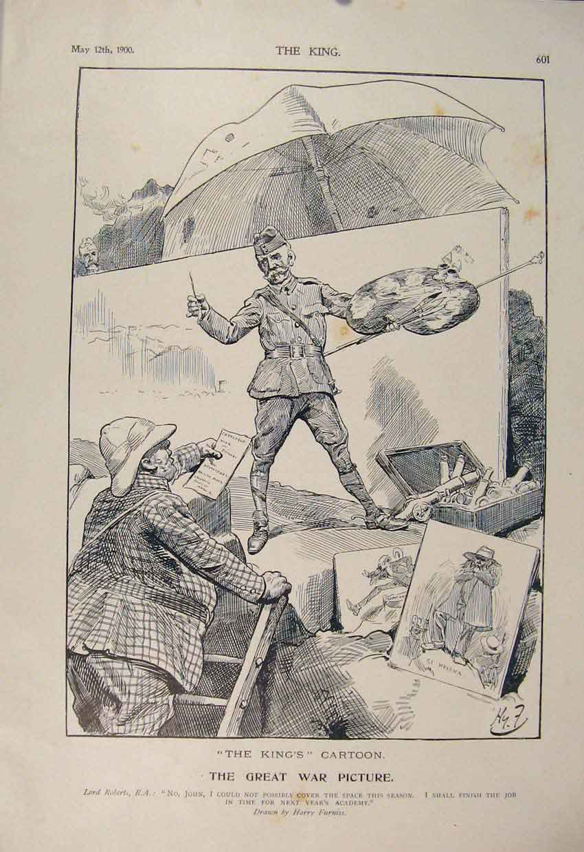 Print Cartoon Furniss Roberts Boer War Africa 1900 Picture 016560 Old Original