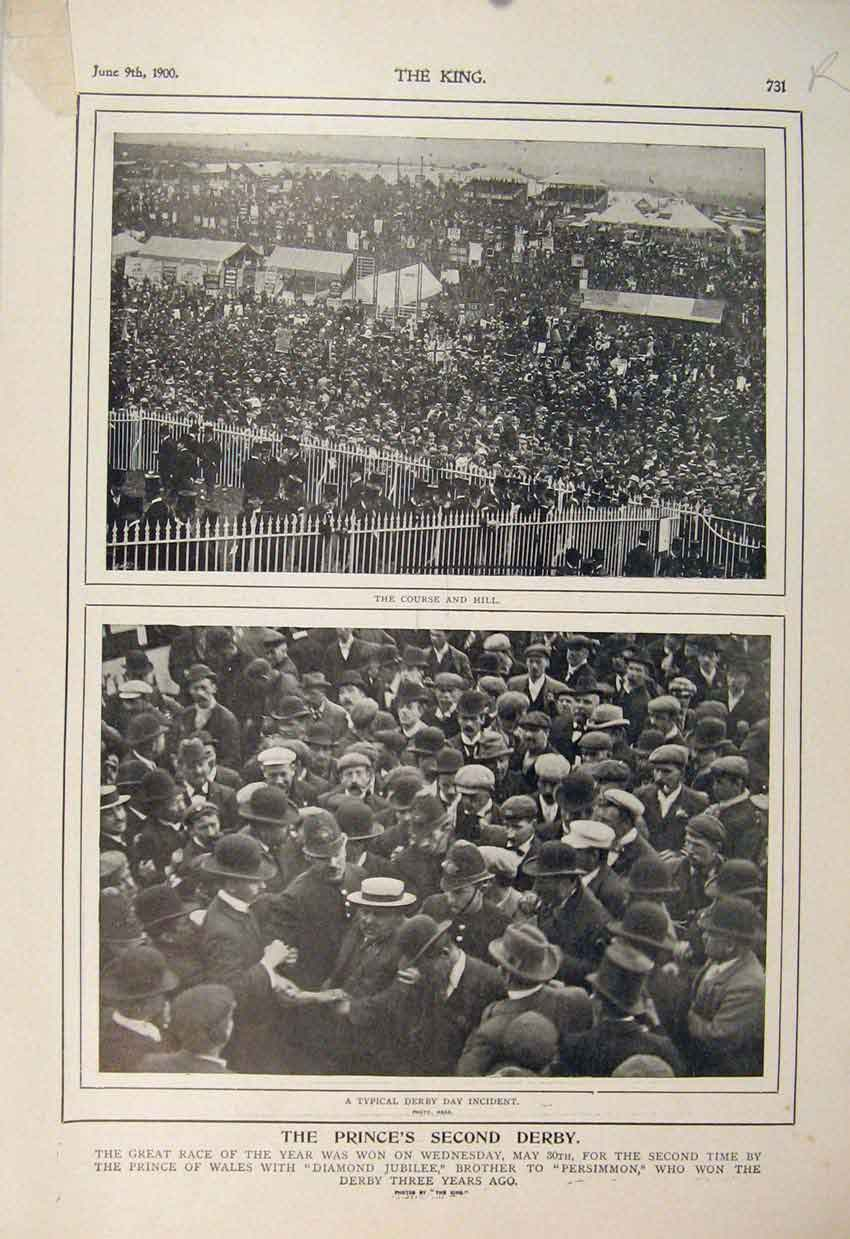 Print Prince Second Derby Races Racecourse Diamond Jubilee 31R6560 Old Original